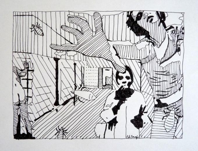 sypital, rysunek cienkopisem, 14.05.2013 Piotr Smogór
