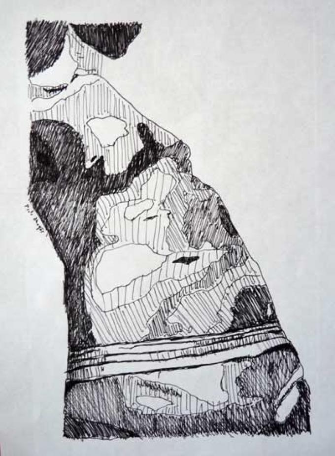 body_3, rysunek cienkopisem, 31.03.2013 Kłodzko