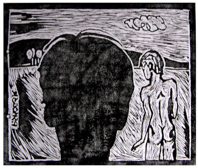 dale, linoryt, 1998, Kłodzko