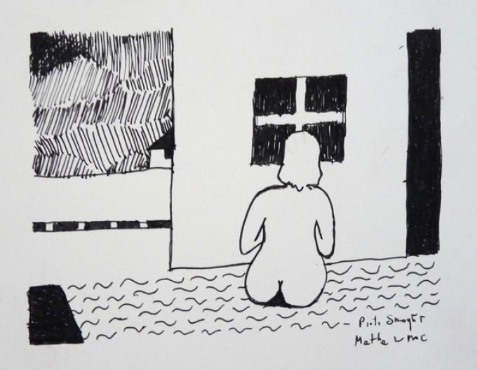 Piotr Smogór, rysunek cienkopisem, matka w noc