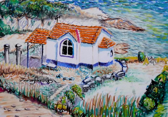 Kapliczka w Limenas, pastel na papierze, 01.09.2011, Limenas. Grecja