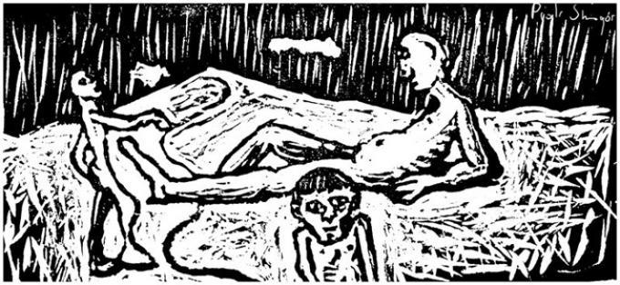 oddaliska, linoryt, 1998, Kłodzko