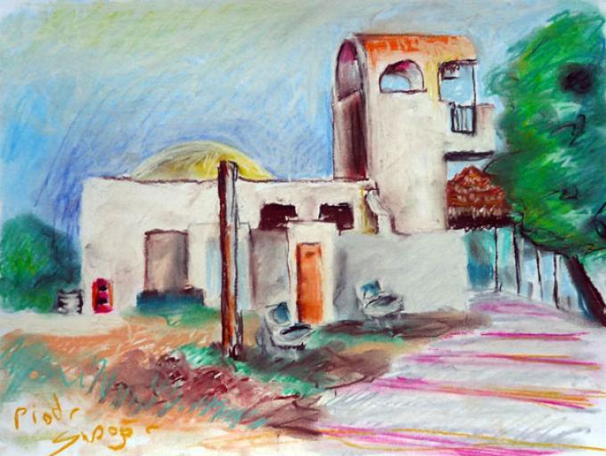 Budynek w Nabeul, pastel na papierze, 2009, Nabeul, Tunezja