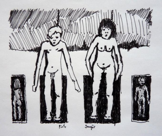 spotkamy się na grobach, rysunek  cienkopisem, 23.04.2013 Kłodzko