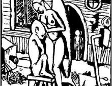 Anioł, linoryt, 1999, Kłodzko