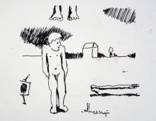 brzask, rysunek Piotr Smogór, 23.04.2013