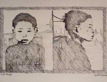 chinskie dziecko, rysunek cienkopisem, Kłodzko 20.04.2013