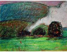 Dym, pastel na papierze, 2007