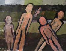słupy, akryl na papierze 35x22cm, 15.11.2012 Wrocław