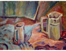 Flakony, olej na kartonie, 1998