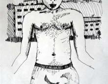 macho, Piotr Smogór, rysunek cienkopisem, 31.03.2013 Kłodzko