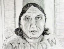 portret mamy, ołówek, 2009
