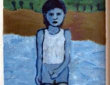 Niebieski chłopiec, akryl na dykcie, 21.03.2009, Kłodzko