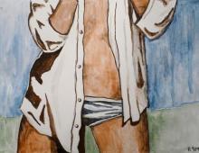 Ona, gwasz na  kartonie, antyrama 60x40, 33,5x53 obrazek, Kłodzko 03.11.2012