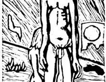 Wstyd,  linoryt, Kłodzko ok 1999