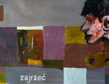 zajrzeć, akryl na papierze, 28.12.2012 Wrocław