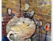 Chłopiec z balonami, technika mieszana, ok.1996