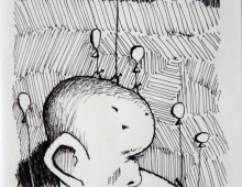 z balonami_2, rysunek cienkopisem, 23.04.2013 Kłodzko