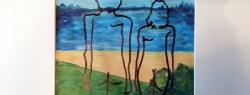 dwie postaci nad jeziorem - Piotr Smogór